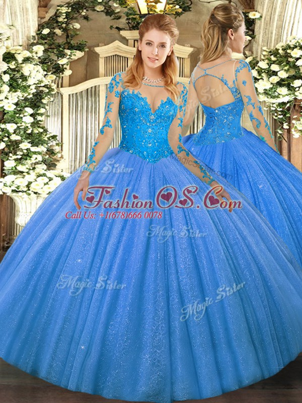 119c852b1a9 Ball Gowns Sweet 16 Quinceanera Dress Baby Blue Scoop Tulle Long Sleeves  Floor Length Lace Up