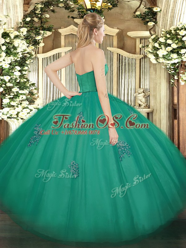 Amazing Strapless Sleeveless Quinceanera Dresses Floor Length Appliques Eggplant Purple Tulle