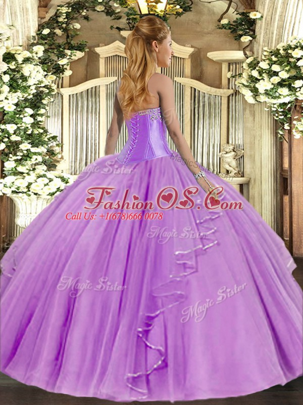 Baby Blue 15 Quinceanera Dress Military Ball and Sweet 16 and Quinceanera with Beading and Ruffles Sweetheart Sleeveless Lace Up