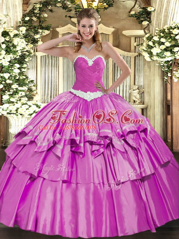 Dazzling Lilac Ball Gowns Organza and Taffeta Sweetheart Sleeveless Appliques and Ruffled Layers Floor Length Lace Up Sweet 16 Dress