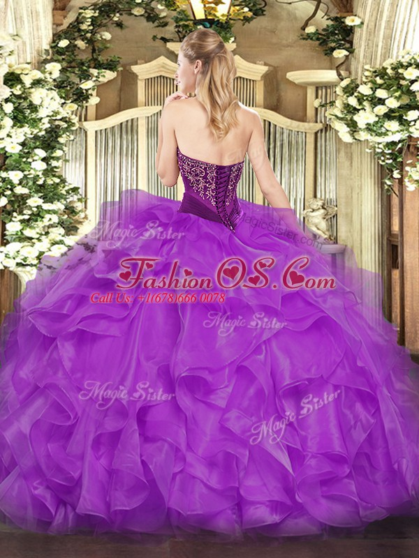 Strapless Sleeveless Lace Up Ball Gown Prom Dress Brown Organza