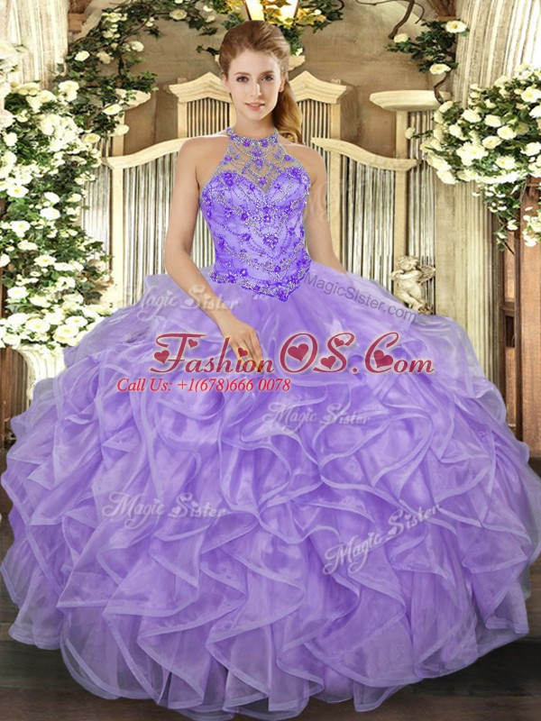 Halter Top Sleeveless Quinceanera Dresses Floor Length Beading and Ruffles Lavender Organza
