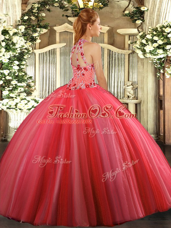Simple Coral Red Halter Top Lace Up Embroidery Quinceanera Dresses Sleeveless