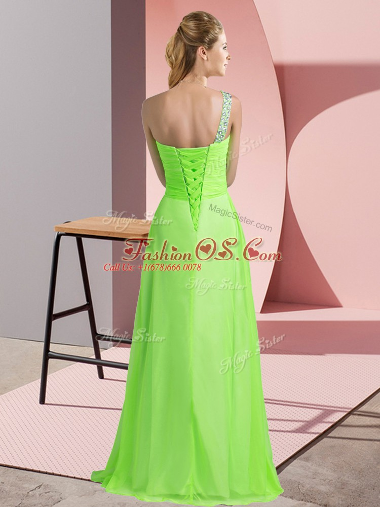 Top Selling Yellow One Shoulder Neckline Beading Prom Evening Gown Sleeveless Lace Up