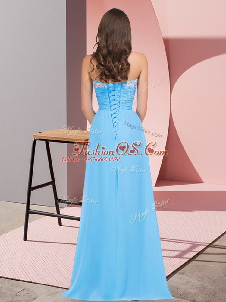 Custom Made Sleeveless Lace Up Floor Length Ruching Evening Dress