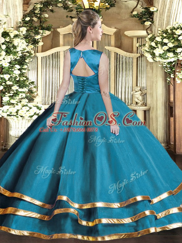 Charming Scoop Sleeveless Tulle Quince Ball Gowns Ruffled Layers Lace Up