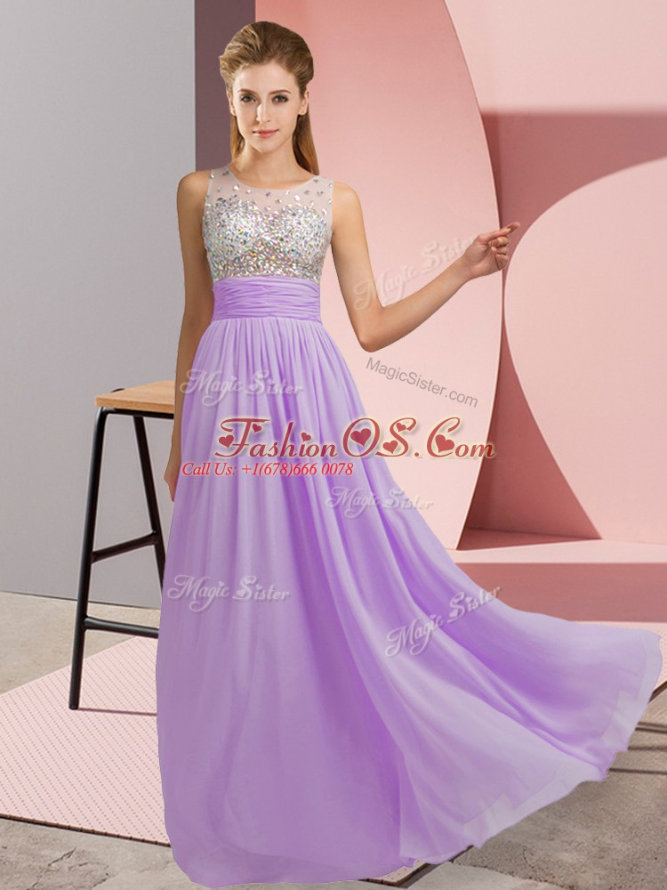 Shining Lavender Empire Chiffon Scoop Sleeveless Beading Floor Length Side Zipper Prom Dresses