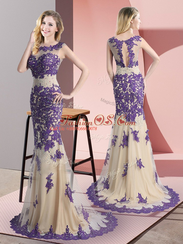 Chic Champagne Scoop Neckline Beading and Appliques Homecoming Dress Sleeveless Side Zipper