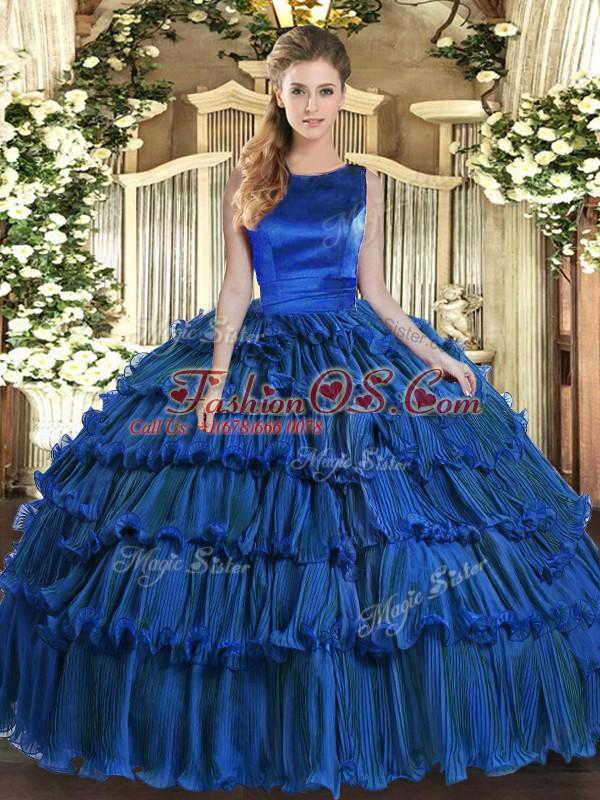 Eye-catching Royal Blue Lace Up Scoop Ruffled Layers Sweet 16 Dresses Organza Sleeveless