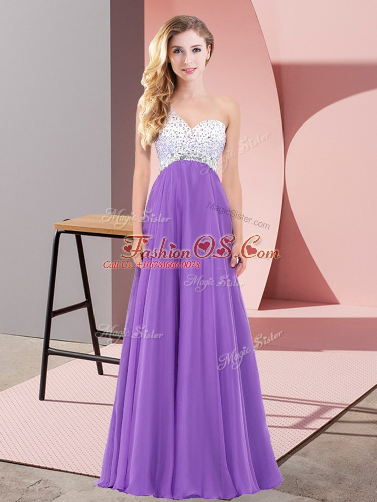 Excellent Eggplant Purple Empire Beading Dress for Prom Lace Up Chiffon Sleeveless Floor Length