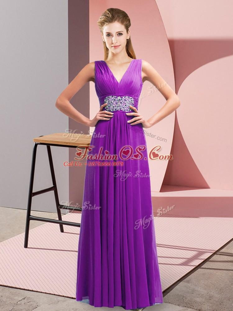 Enchanting Purple Empire Chiffon V-neck Sleeveless Beading and Ruching Floor Length Side Zipper Prom Party Dress