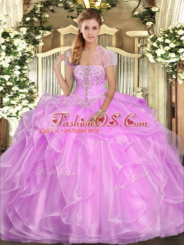 Lilac Strapless Neckline Appliques and Ruffles Vestidos de Quinceanera Sleeveless Lace Up
