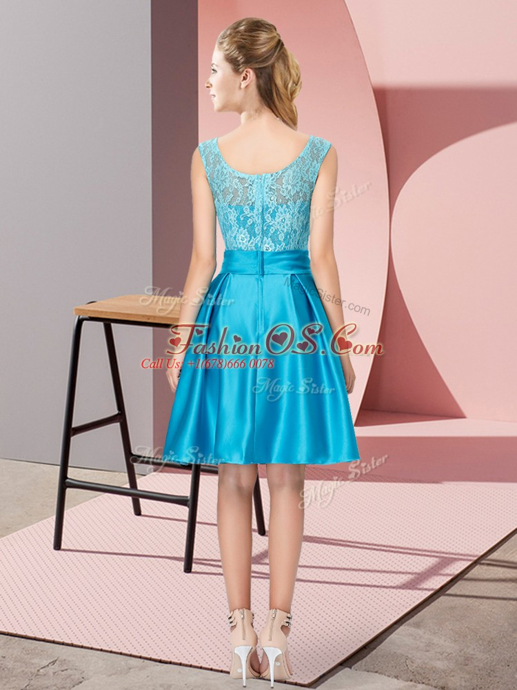 New Style Sleeveless Zipper Knee Length Lace and Hand Made Flower