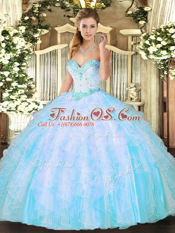 Sweetheart Sleeveless Lace Up Vestidos de Quinceanera Aqua Blue Organza