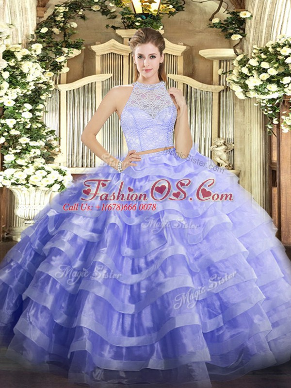 Two Pieces Sweet 16 Dresses Lavender Scoop Tulle Sleeveless Floor Length Zipper
