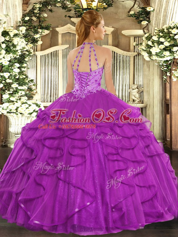 Beautiful Floor Length Fuchsia 15th Birthday Dress Tulle Sleeveless Beading and Ruffles