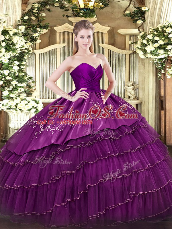 Traditional Embroidery and Ruffled Layers Sweet 16 Quinceanera Dress Eggplant Purple Zipper Sleeveless Floor Length