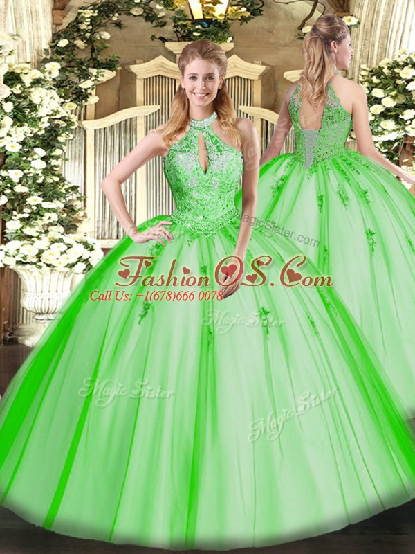 Artistic Floor Length Quince Ball Gowns Tulle Sleeveless Lace and Appliques