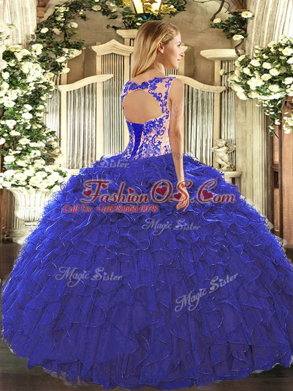 Fuchsia Cap Sleeves Beading and Appliques and Ruffles Floor Length Quince Ball Gowns
