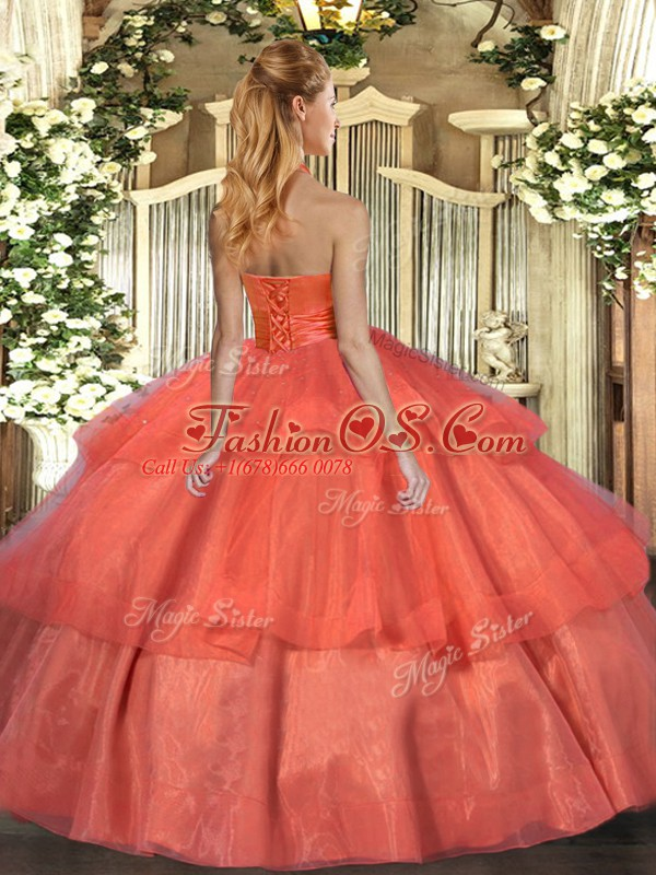 Floor Length Lace Up Vestidos de Quinceanera Orange Red for Military Ball and Sweet 16 and Quinceanera with Ruffled Layers