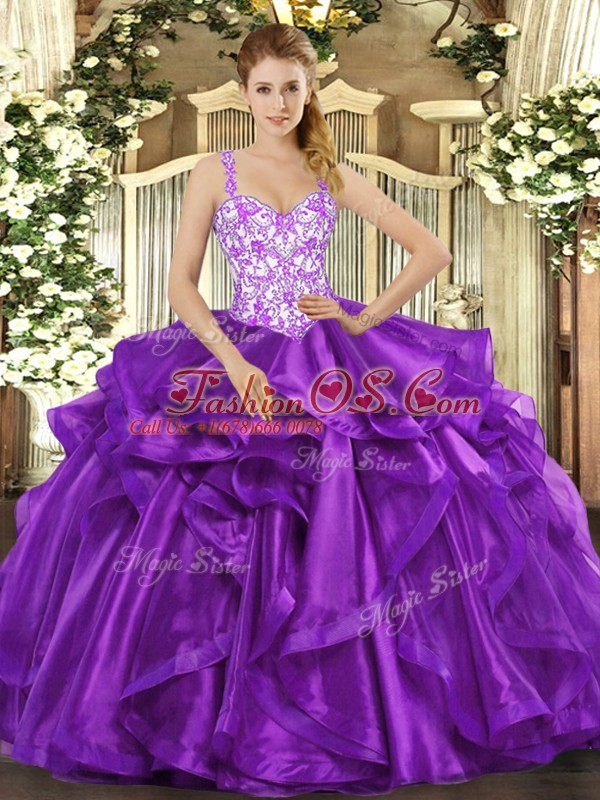 Fitting Eggplant Purple Ball Gowns Organza Straps Sleeveless Beading and Appliques and Ruffles Floor Length Lace Up Sweet 16 Dress