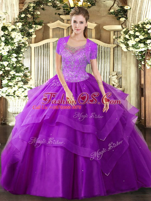 Eggplant Purple Sleeveless Floor Length Beading and Ruffles Clasp Handle 15th Birthday Dress