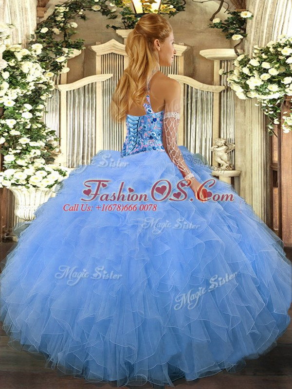 Floor Length Rose Pink Sweet 16 Quinceanera Dress Organza Sleeveless Beading and Ruffles