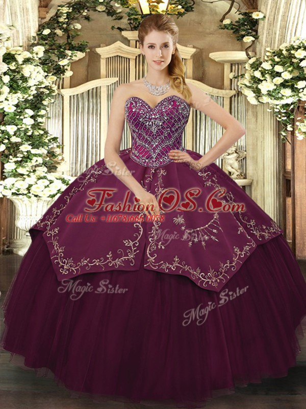 Free and Easy Beading and Pattern Vestidos de Quinceanera Burgundy Lace Up Sleeveless Floor Length
