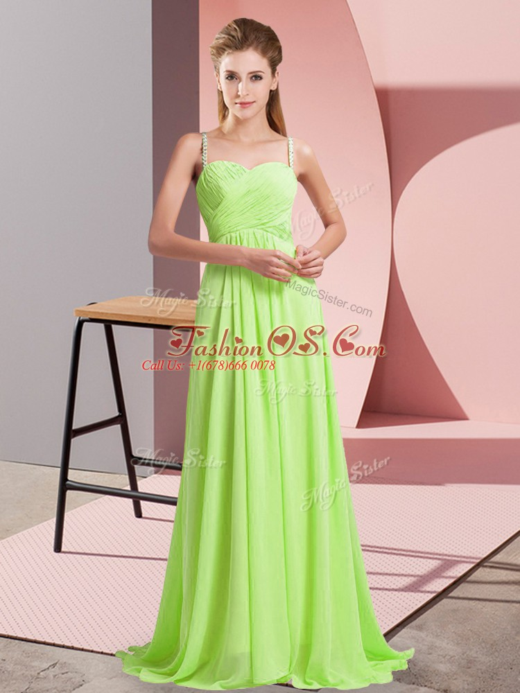 Stunning Yellow Green Criss Cross Prom Dresses Ruching Sleeveless Sweep Train