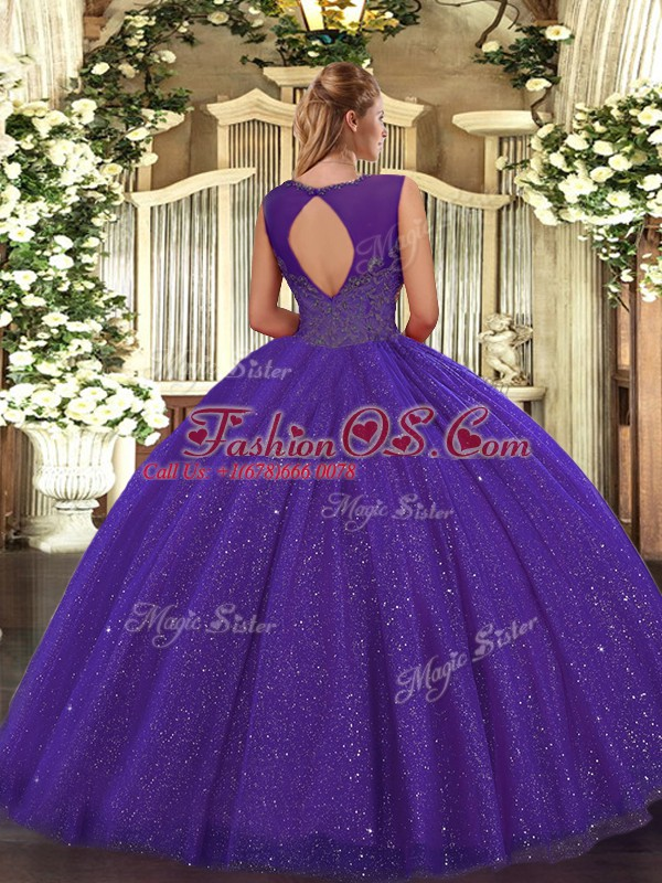 Clearance Ball Gowns Ball Gown Prom Dress Teal Scoop Tulle and Sequined Sleeveless Floor Length Backless
