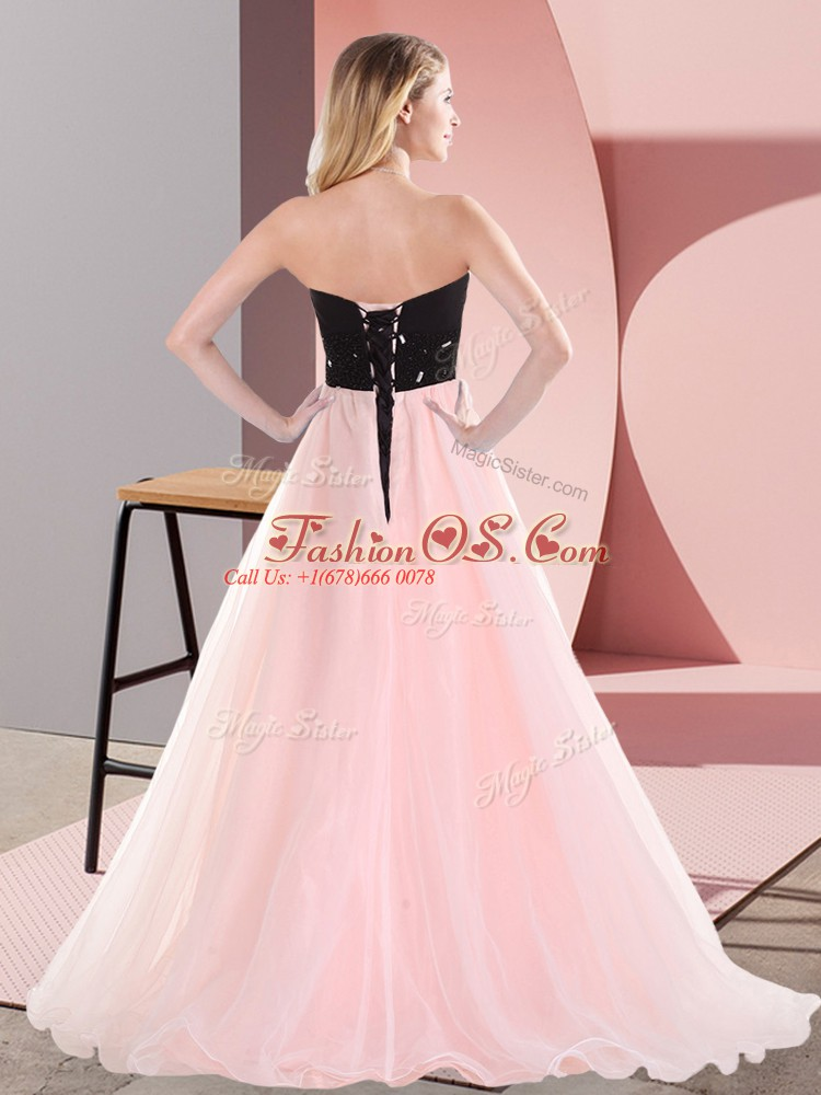 Pink And Black Sleeveless Belt Floor Length Prom Evening Gown