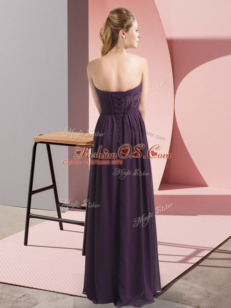 Modern Sweetheart Sleeveless Lace Up Prom Party Dress Blue Chiffon
