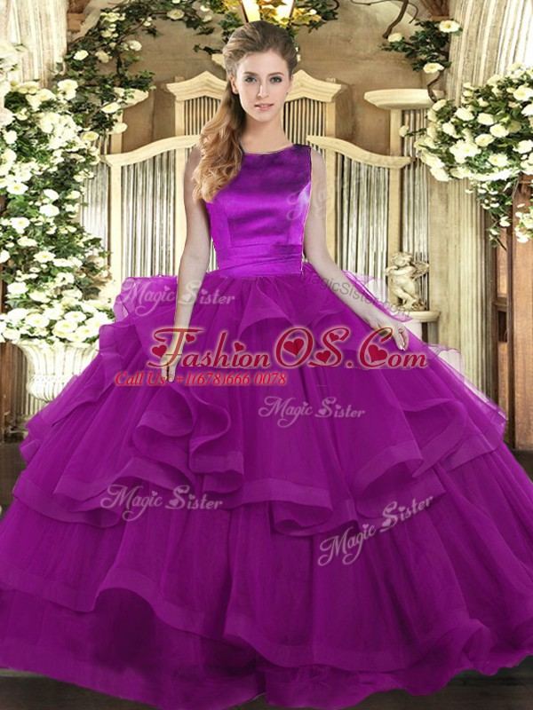 Low Price Purple Scoop Neckline Ruffles Quince Ball Gowns Sleeveless Lace Up