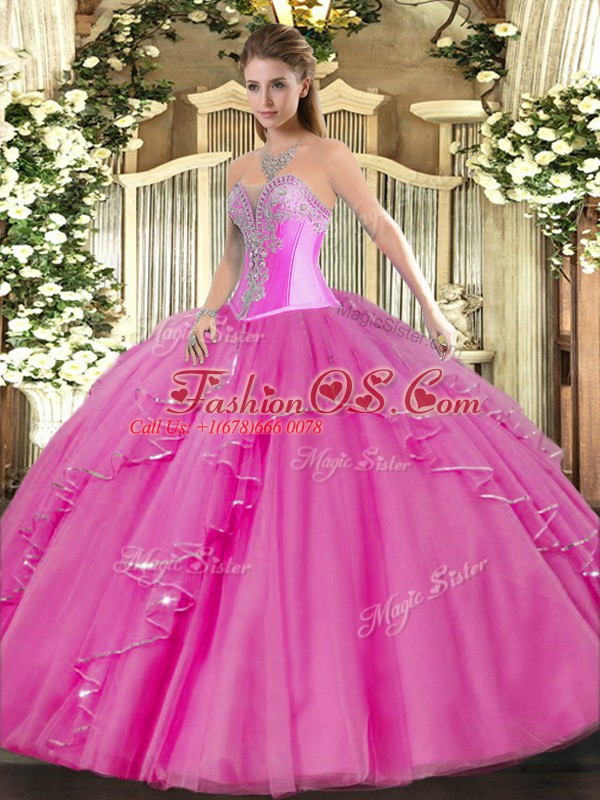Elegant Fuchsia Lace Up 15 Quinceanera Dress Beading and Ruffles Sleeveless Floor Length