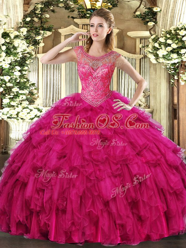 Sleeveless Organza Floor Length Lace Up 15 Quinceanera Dress in Fuchsia with Beading and Ruffles
