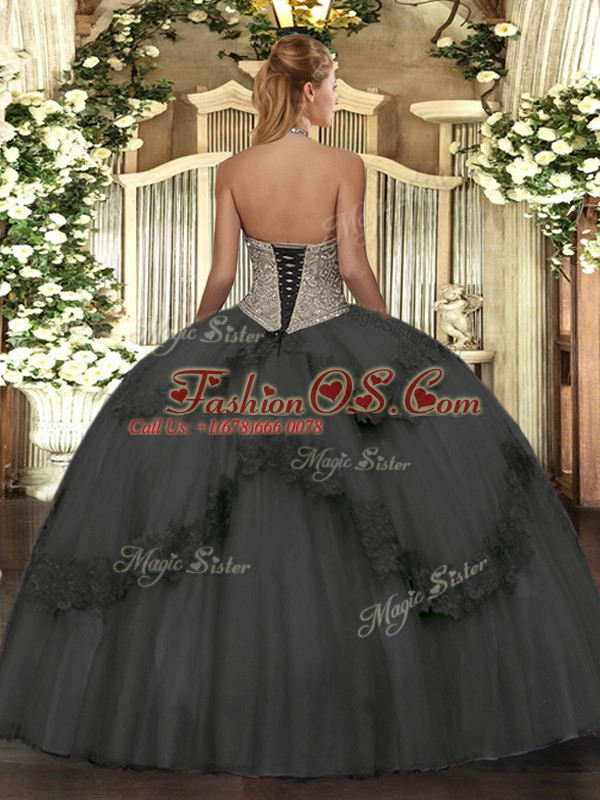 Apple Green Sleeveless Beading and Appliques Floor Length Quince Ball Gowns