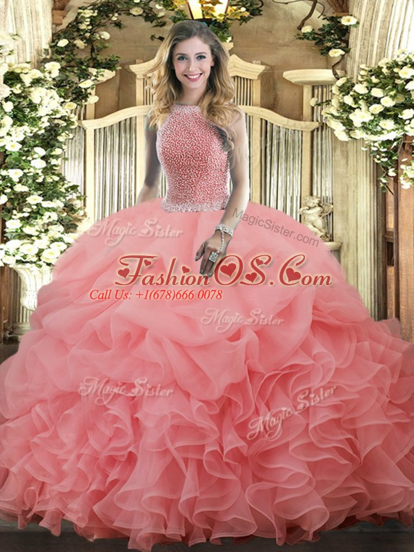 Fashionable Organza Sleeveless Floor Length Vestidos de Quinceanera and Beading and Ruffles and Pick Ups