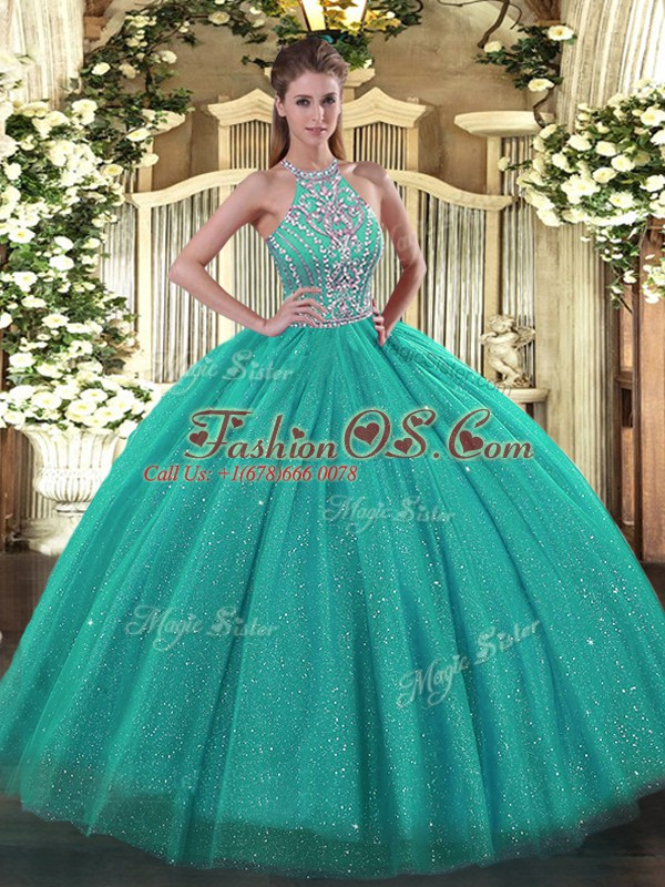 Custom Designed Turquoise Halter Top Lace Up Beading Quinceanera Dresses Sleeveless