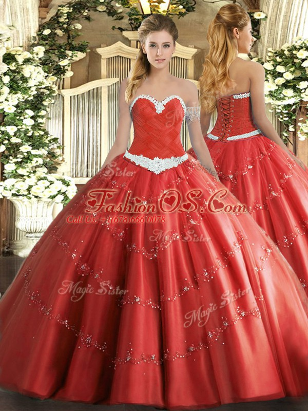 Pretty Coral Red Lace Up 15 Quinceanera Dress Appliques Sleeveless Floor Length
