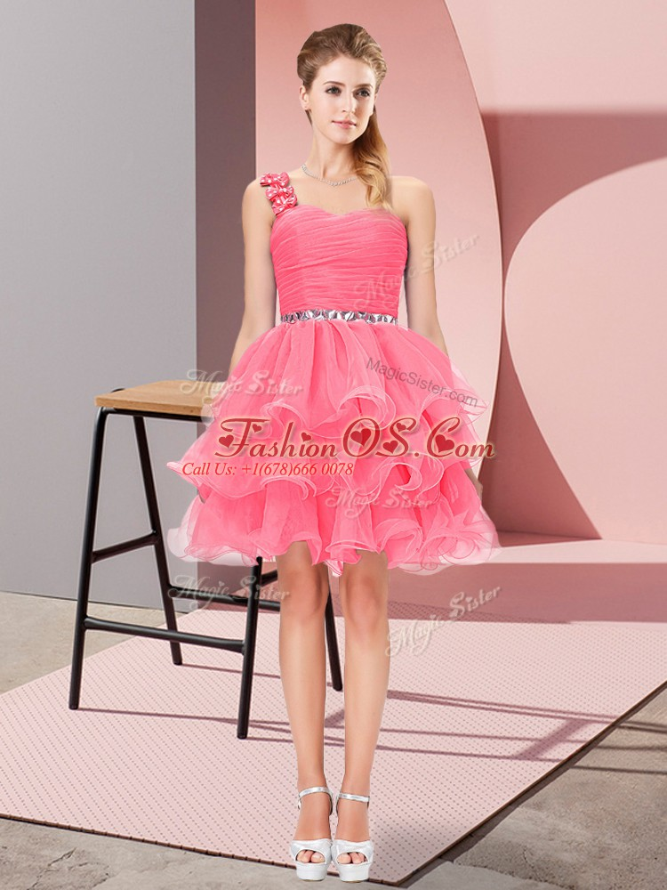 Best Watermelon Red Lace Up One Shoulder Beading and Ruffled Layers Homecoming Dress Organza Sleeveless