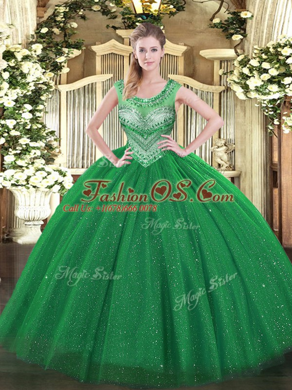 Flare Ball Gowns Ball Gown Prom Dress Dark Green Scoop Tulle Sleeveless Floor Length Lace Up