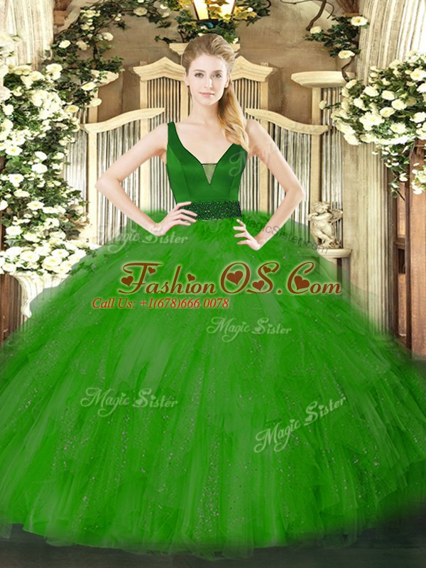 Green Sleeveless Floor Length Beading and Ruffles Zipper Quinceanera Dresses