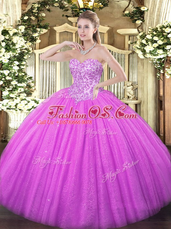 Glittering Lilac Lace Up Sweetheart Appliques 15th Birthday Dress Tulle Sleeveless