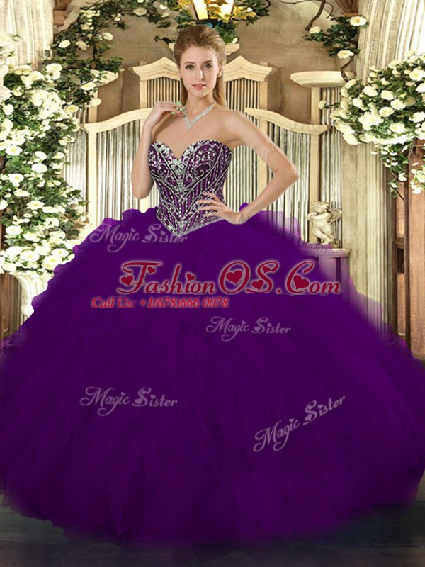 Tulle Sweetheart Sleeveless Lace Up Beading and Ruffles Sweet 16 Quinceanera Dress in Dark Purple