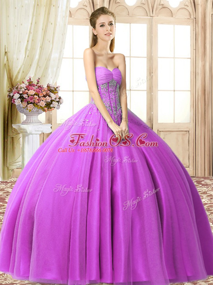 Beading Sweet 16 Dress Lilac Lace Up Sleeveless Floor Length