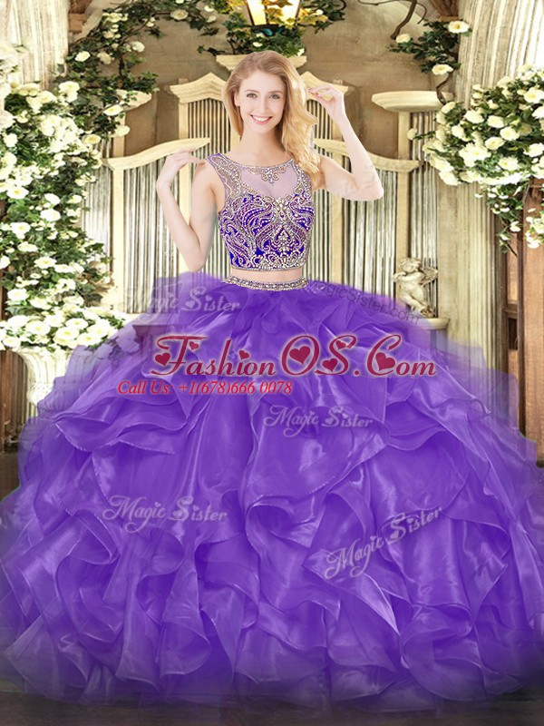 High End Eggplant Purple Two Pieces Organza Scoop Sleeveless Beading and Ruffles Floor Length Lace Up Sweet 16 Dresses