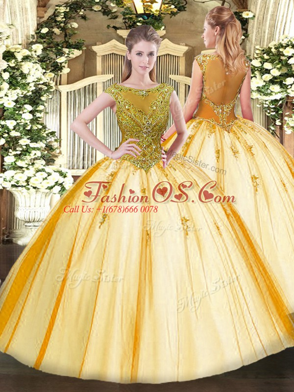 Flare Gold Cap Sleeves Floor Length Beading Lace Up 15th Birthday Dress