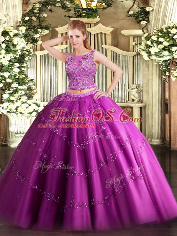 Floor Length Fuchsia Quince Ball Gowns Scoop Sleeveless Lace Up
