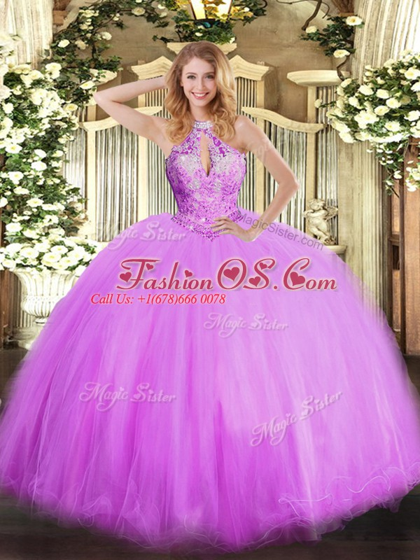 Lilac 15 Quinceanera Dress Military Ball and Sweet 16 and Quinceanera with Beading Halter Top Sleeveless Lace Up