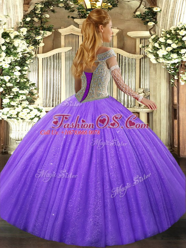 Colorful Hot Pink Ball Gowns Tulle Off The Shoulder Sleeveless Beading Lace Up Sweet 16 Quinceanera Dress